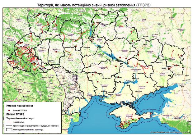 Ймовірні зони затоплення. Фото: dsns.gov.ua