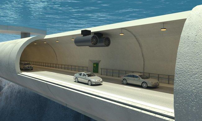 В Норвегии стоят плавающий подводный тоннель для автомобилей