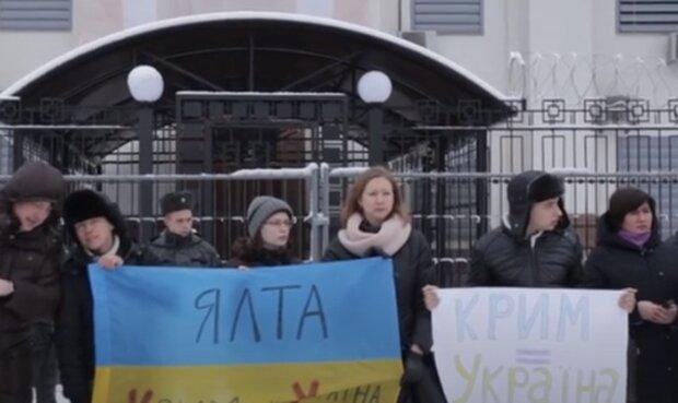 Акция против аннексии Крыма. Фото: скриншот YouTube-видео