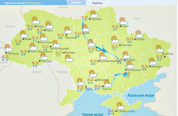 Погода в Україні. Фото: скріншот meteo.gov.ua