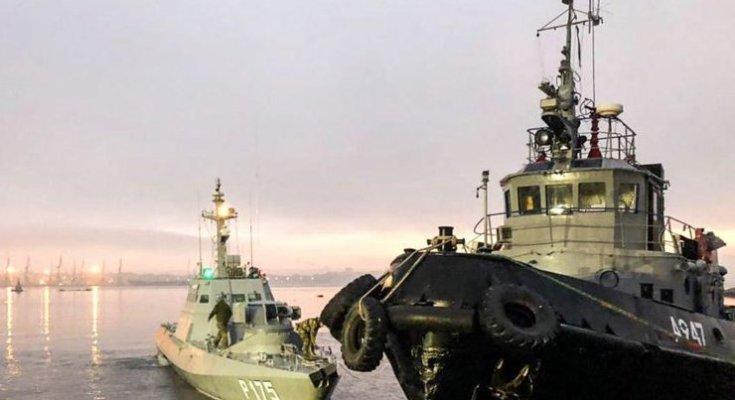 Два украинских катера и буксир возвращаются домой