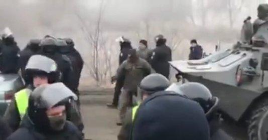 протесты в Новых Санжарах, скриншот Телеграм