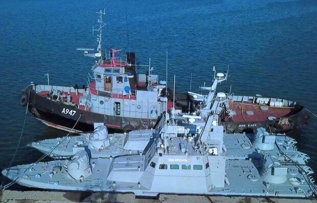 Захваченные в плен украинские корабли. Фото: obozrevatel.com