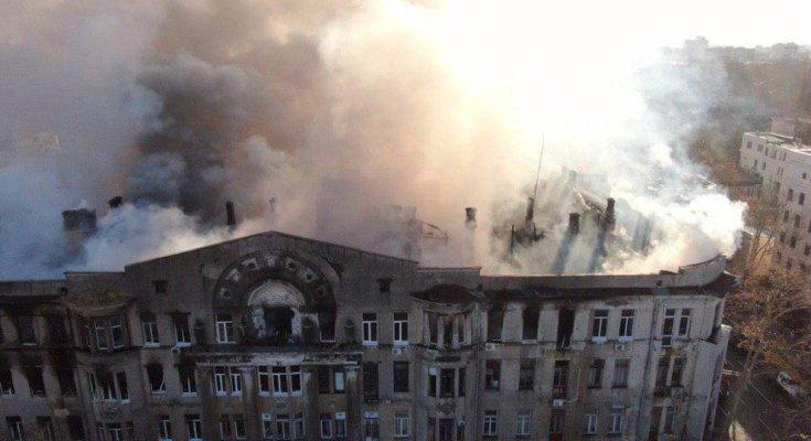 Пожар в Одессе, фото: Думская